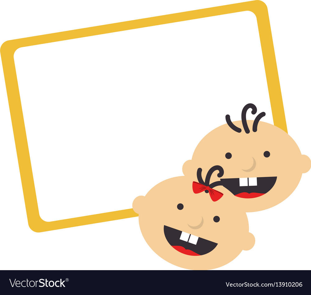 Color frame with border with babys faces vector image