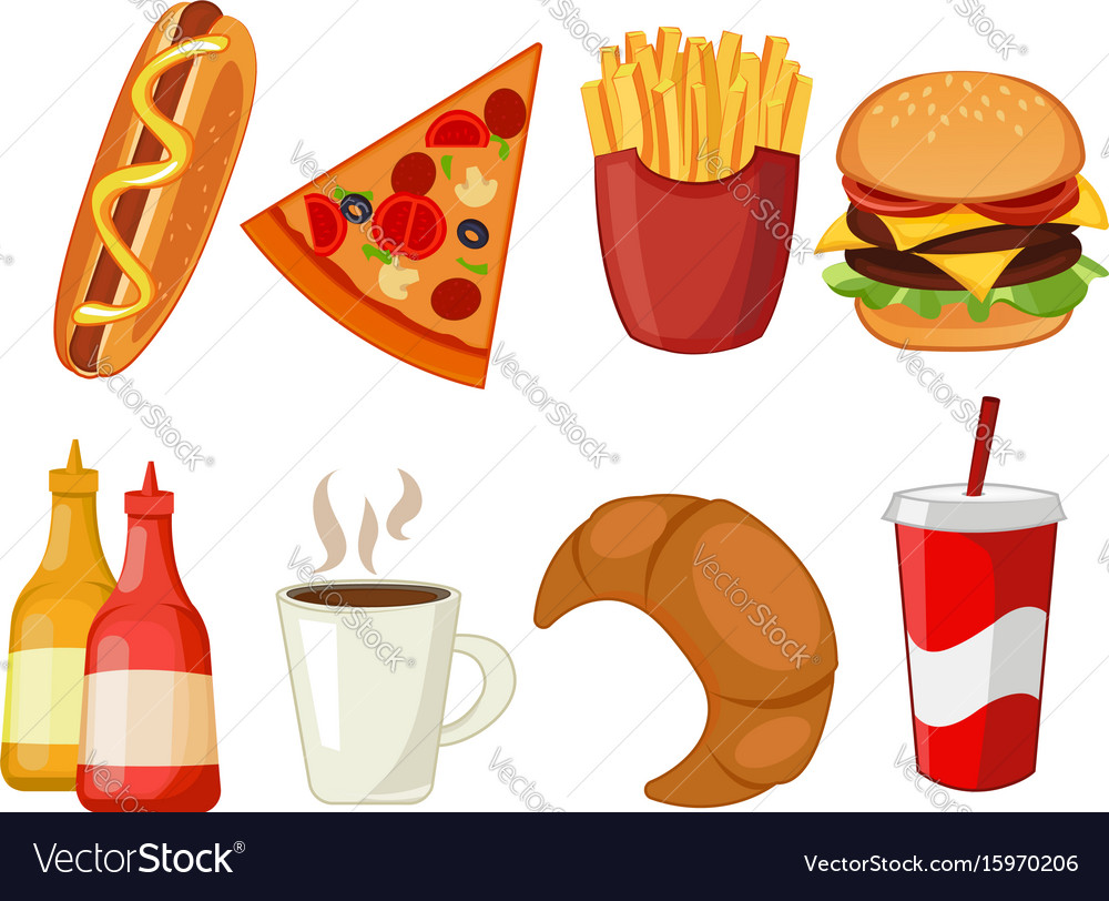Colorful icons with fast food meals isolated set
