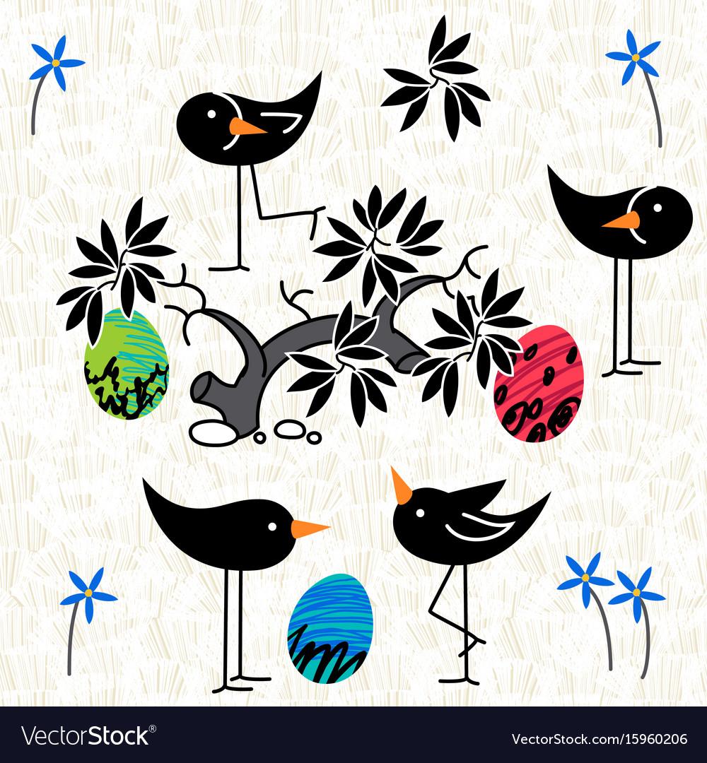 Cute birds baby shower invitation card design