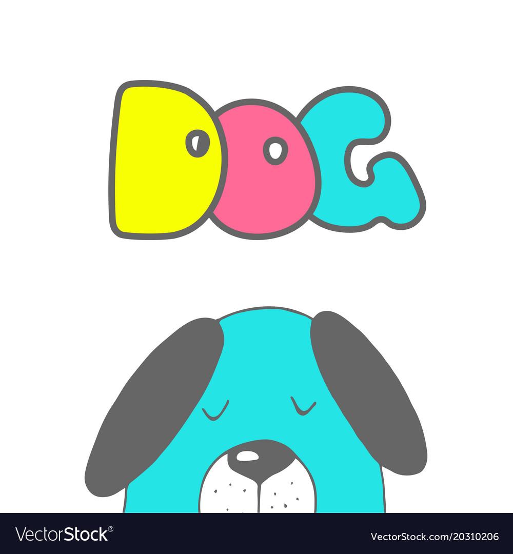 Cute dog symbol of new year 2018 hand drawn