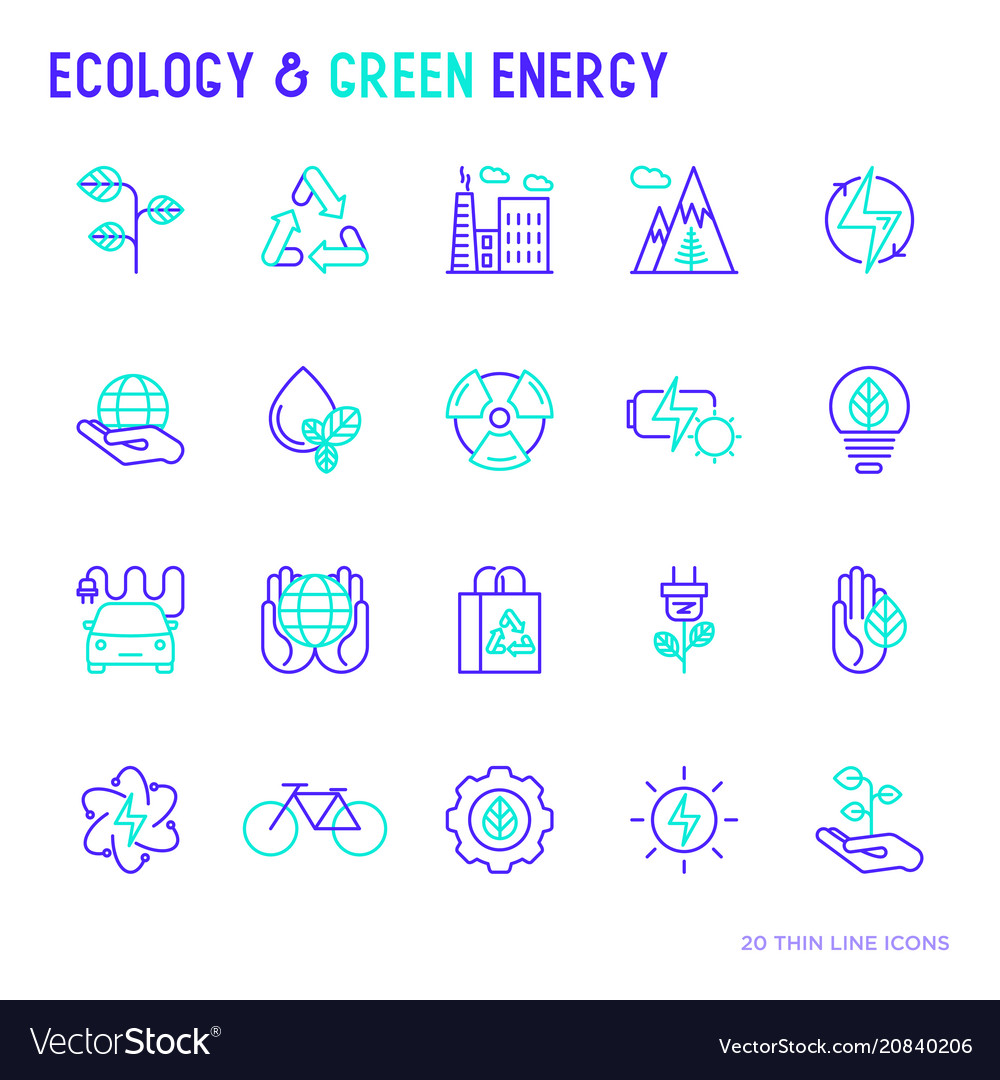 Ecology and green energy thin bicolor line icons vector image