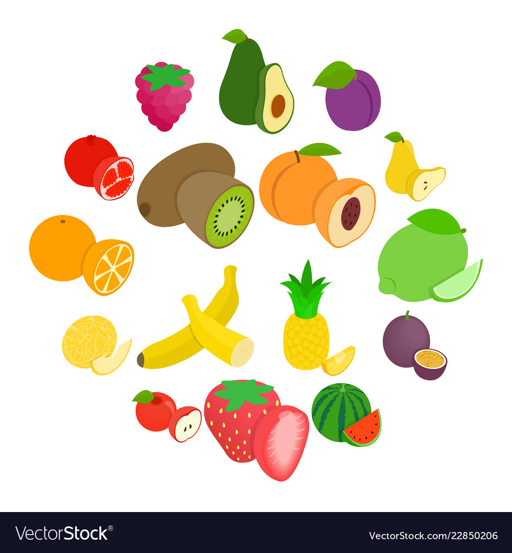 Fruit icons set isometric 3d style
