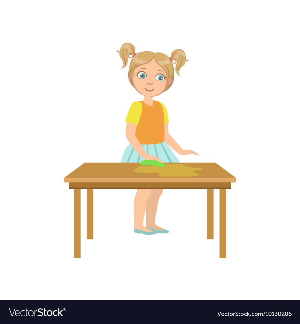 Girl Cleaning The Wooden Table Royalty Free Vector Image