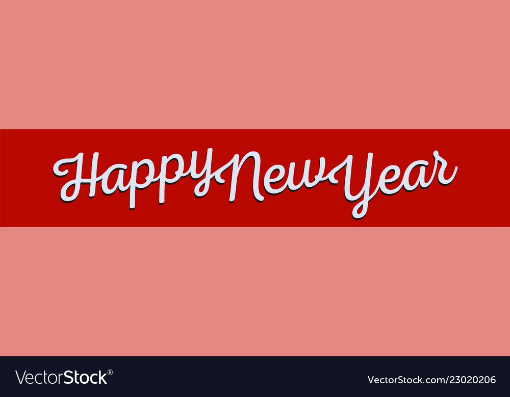 Happy new year greeting banner white lettering on