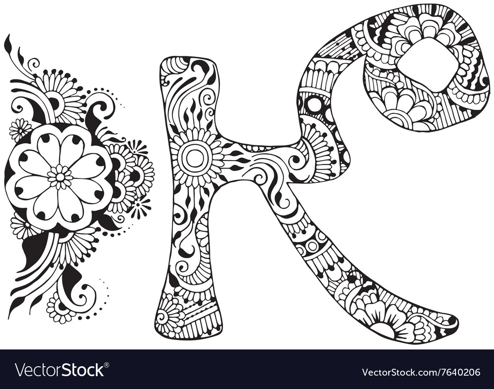 Letter K decorated in the style of mehndi