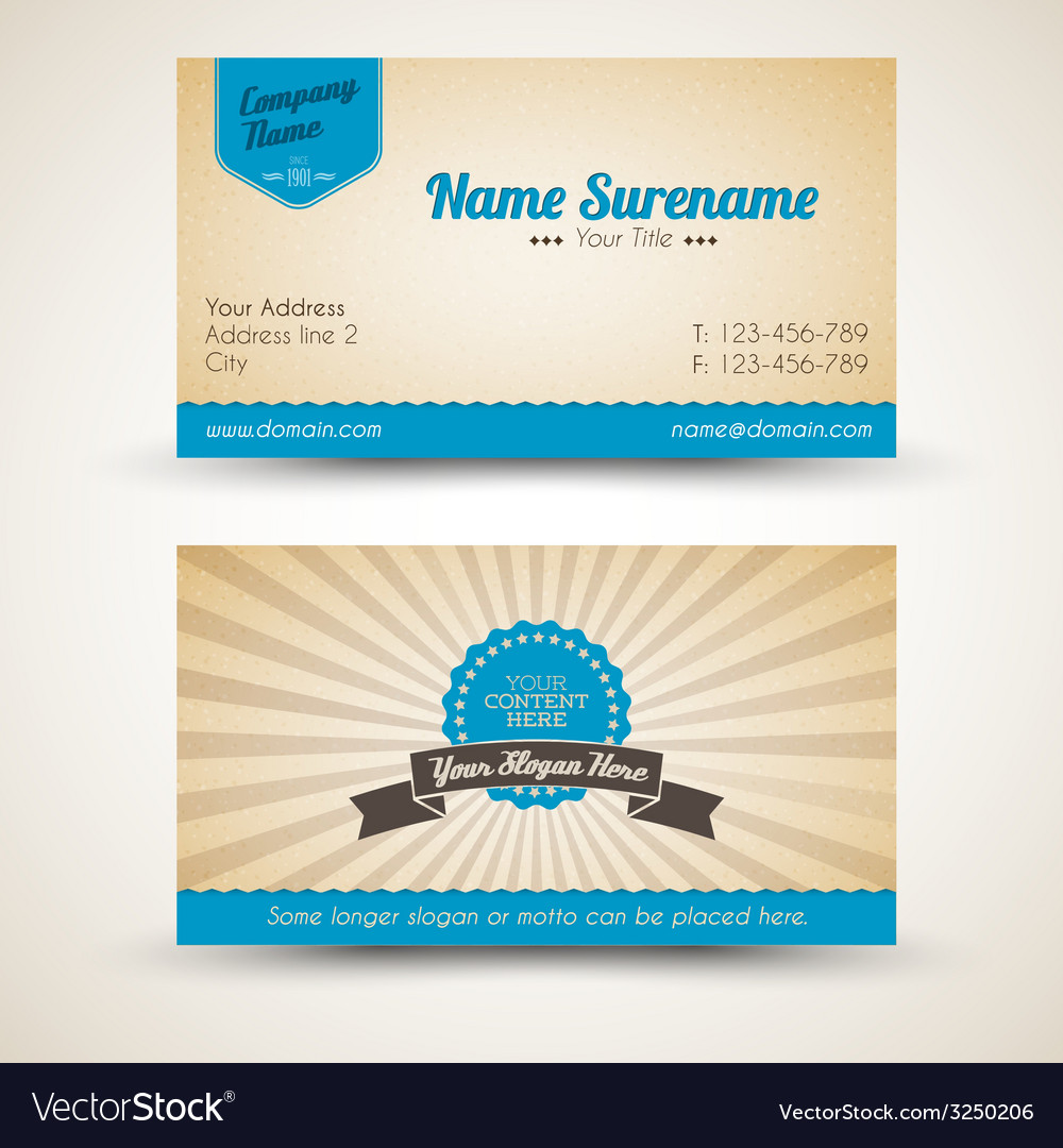 Old-style retro vintage business card Royalty Free Vector