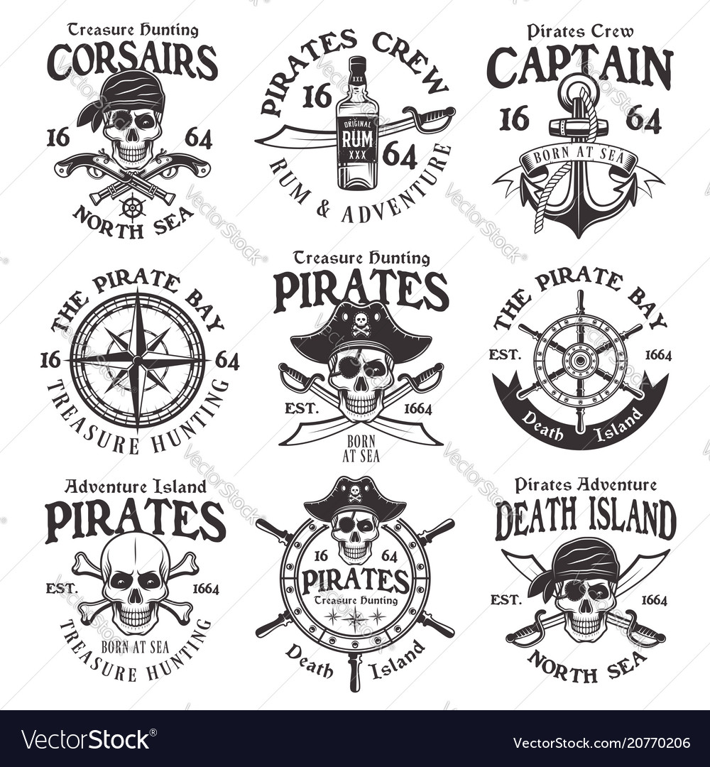 Pirates set of vintage emblems or badges