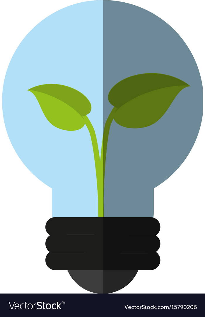 Plant inside lightbulb clean energy icon image vector image