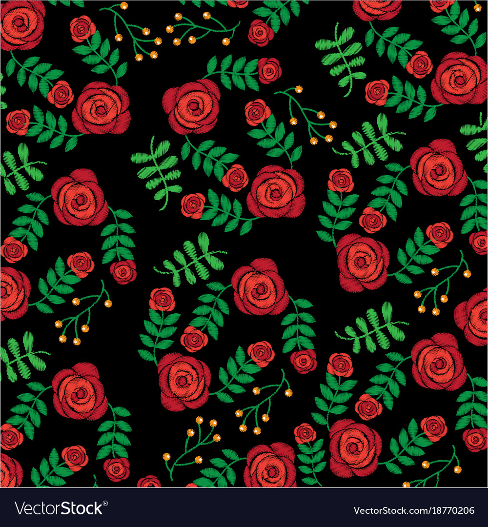 Seamless pattern embroidery fashion roses flower vector image