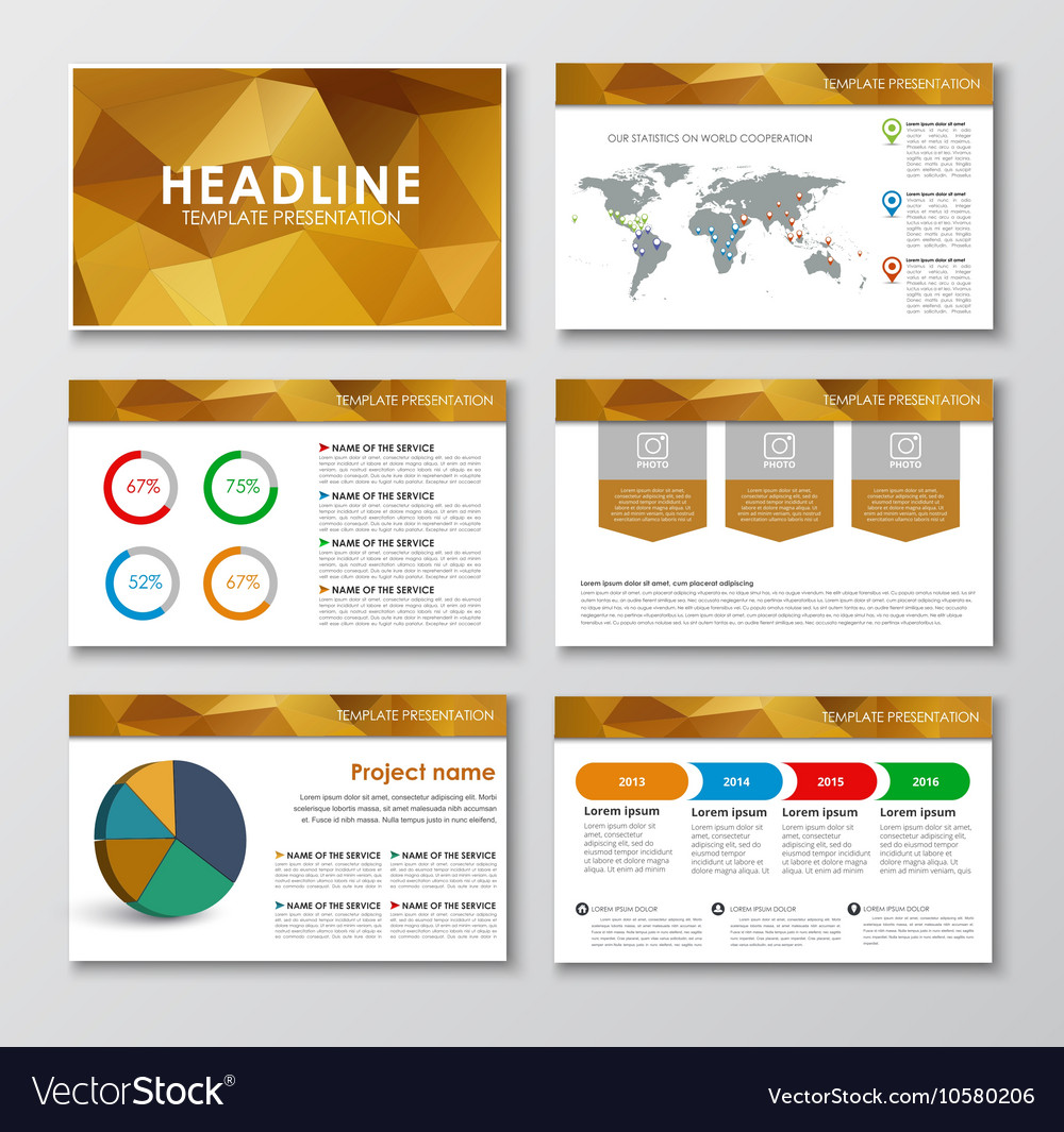 Templates polygonal slides for presentations vector image