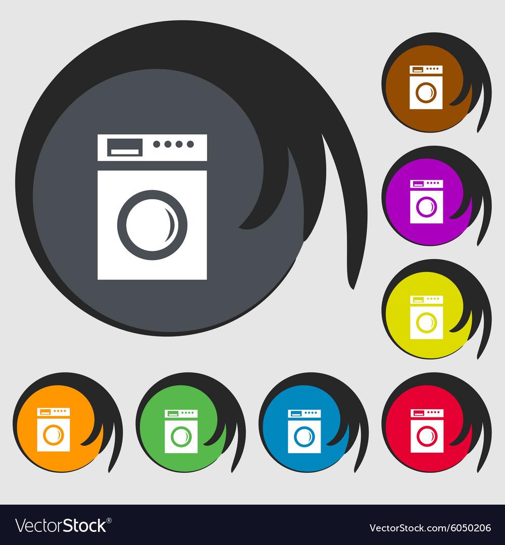 Washing Machine Icon Sign Symbols On Eight Colored