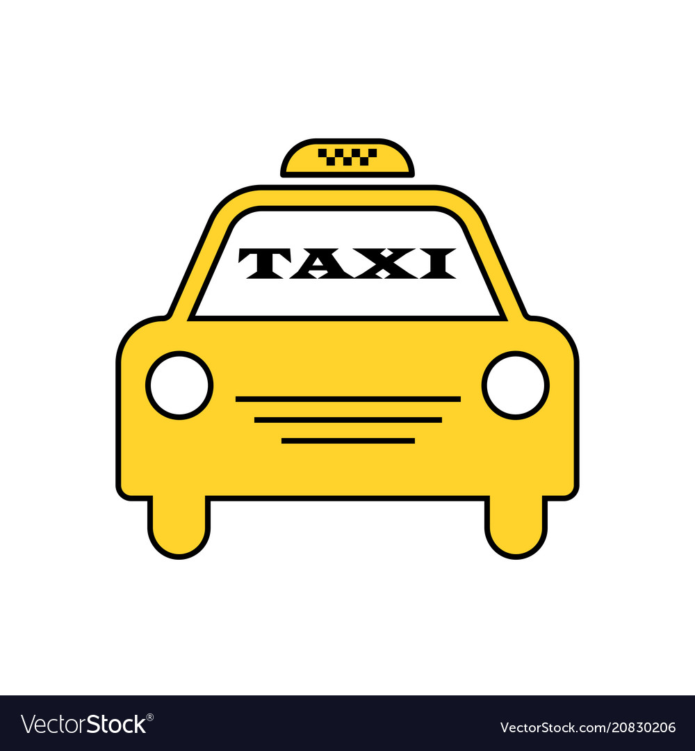 Yellow taxi car logotype for website stickers