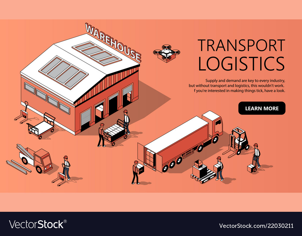 3d isometric site template - transport