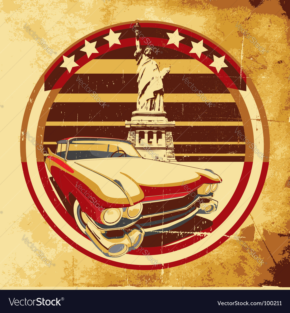 American style poster vector image