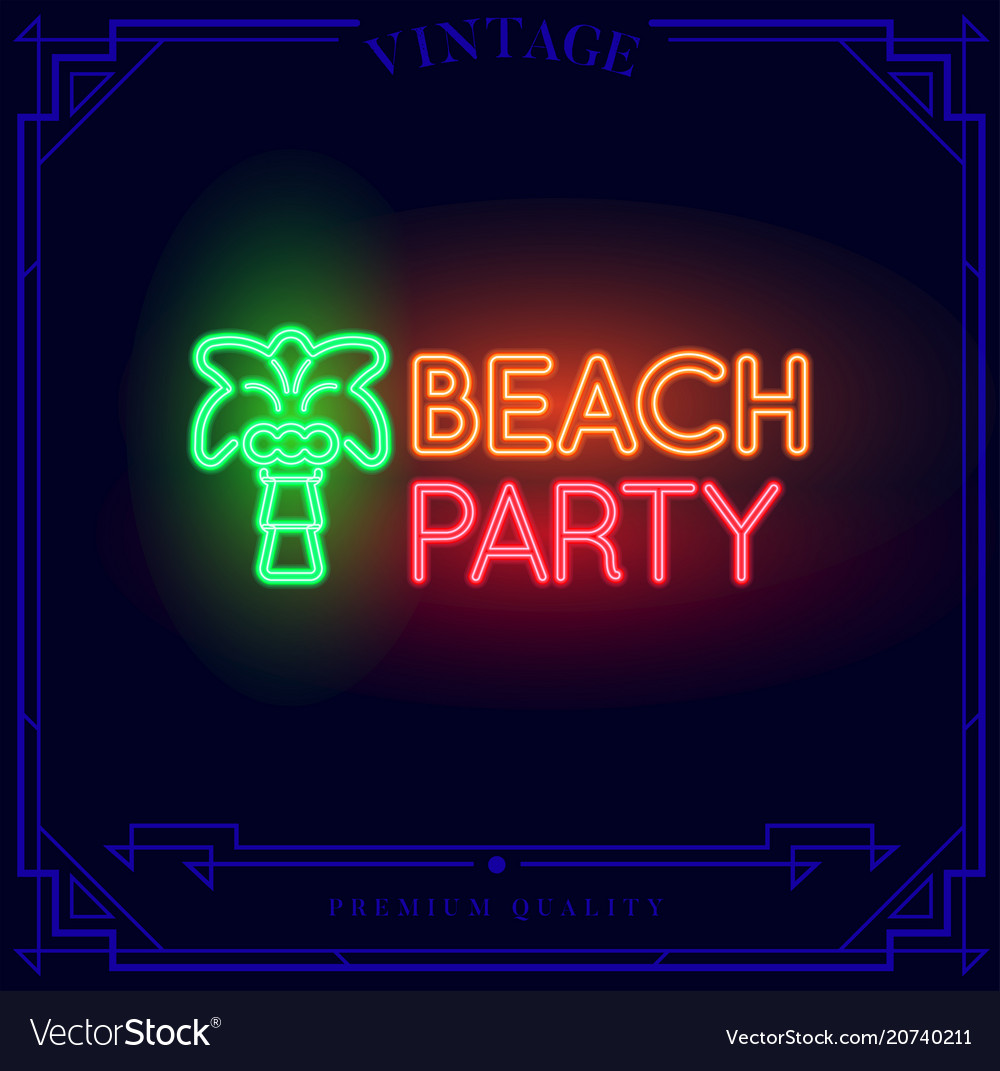 Beach bar neon light sign