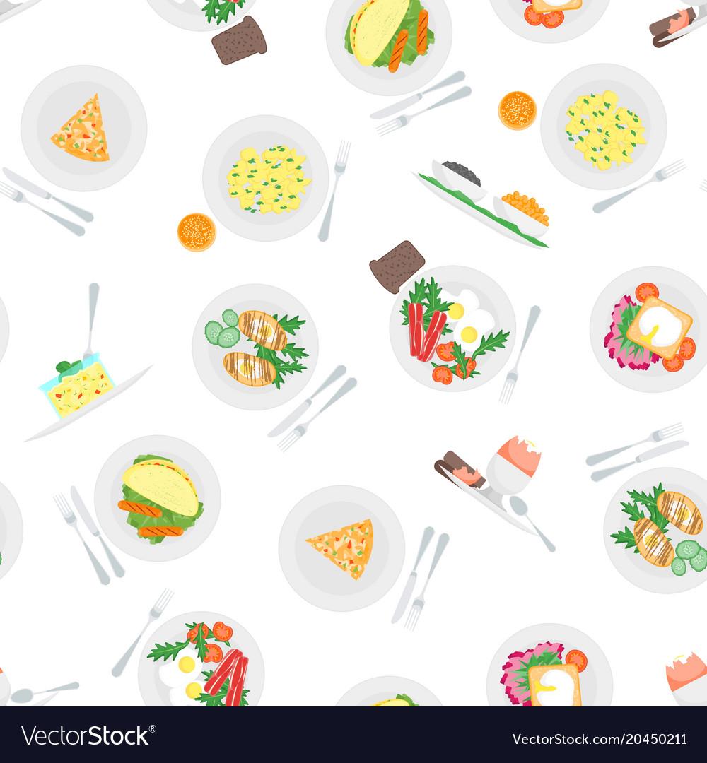 cartoon breakfast menu seamless pattern background