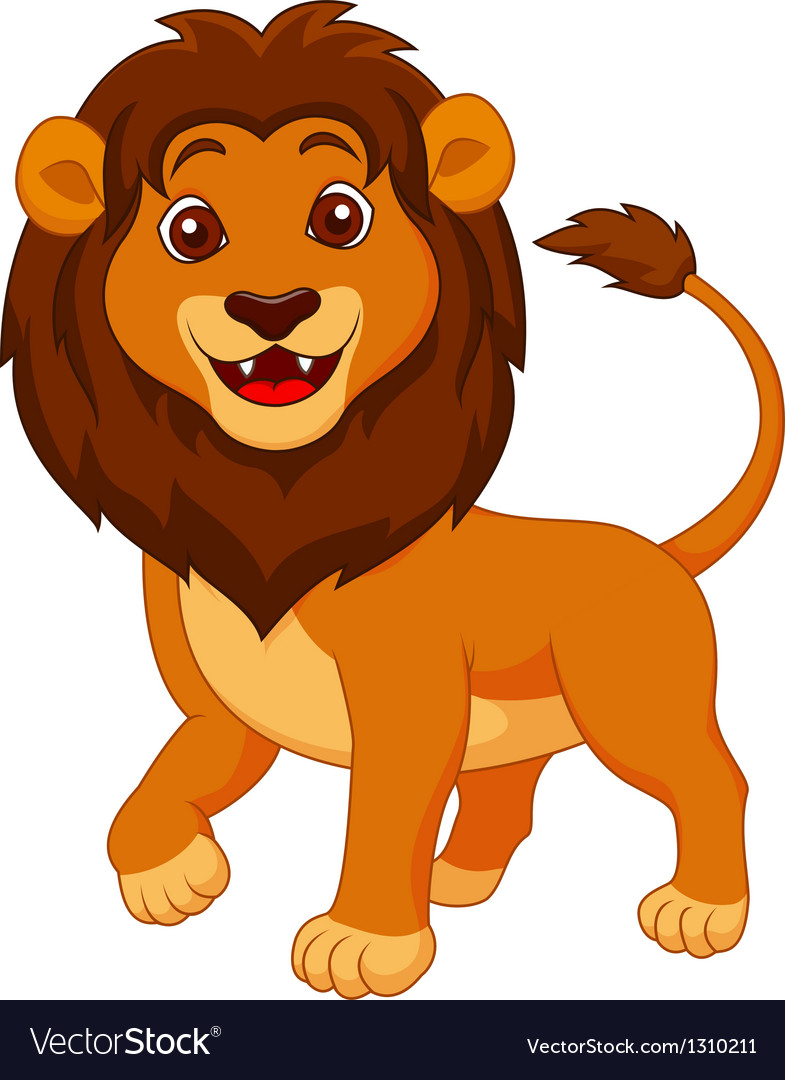 Cute lion cartoon Royalty Free Vector Image - VectorStock