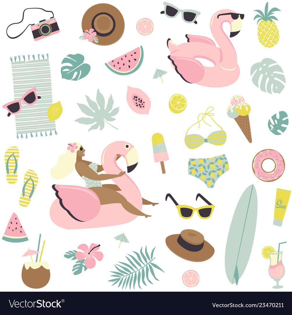 Cute summer seamless pattern fruits drinks ice