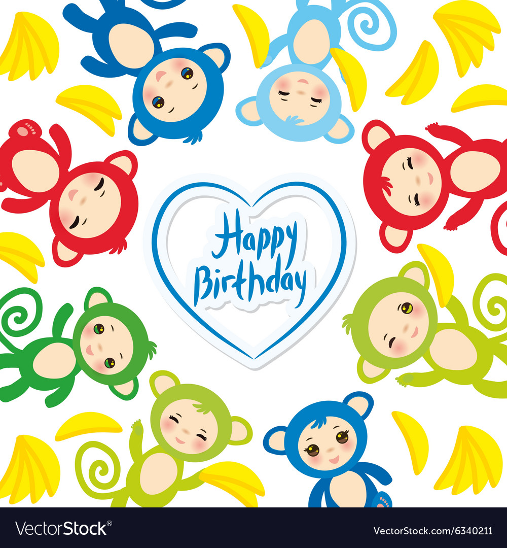 Happy birthday card template funny green blue