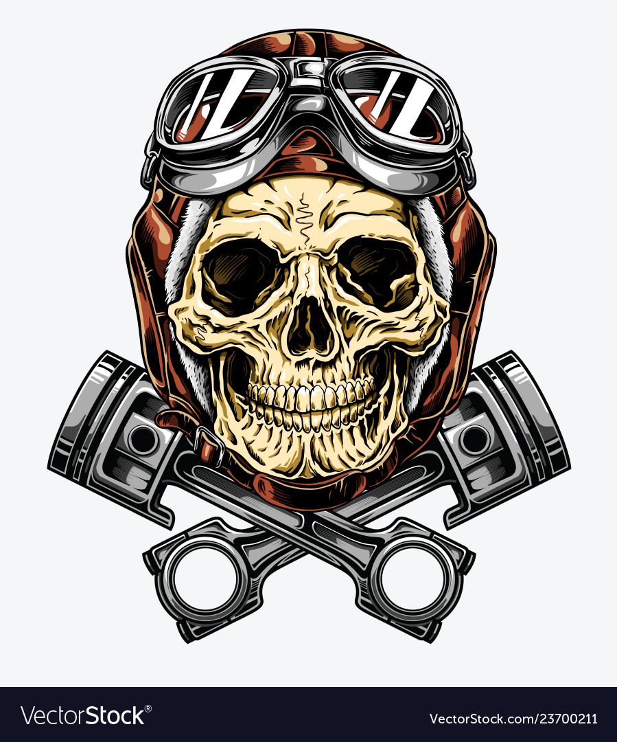 Motorcycle skull with helmet and goggles
