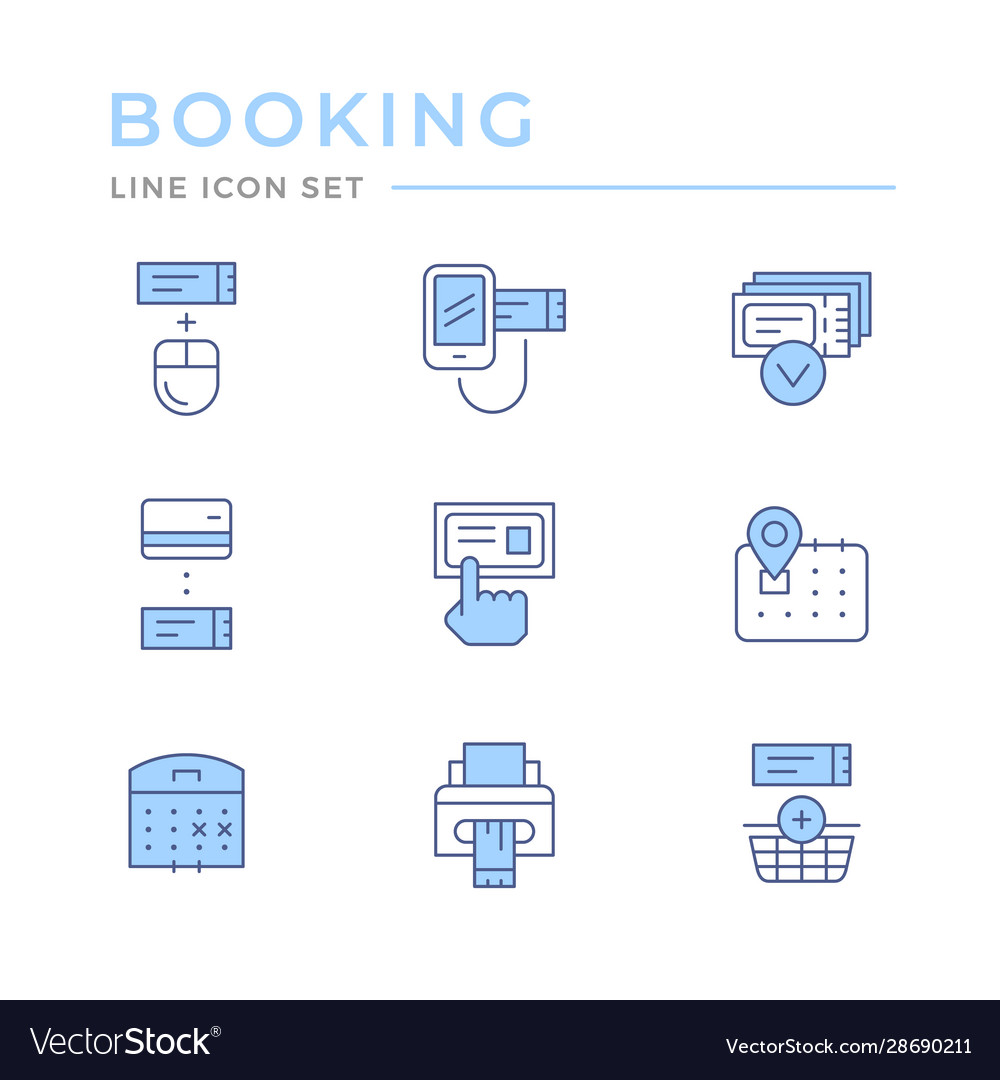Set color line icons booking tickets