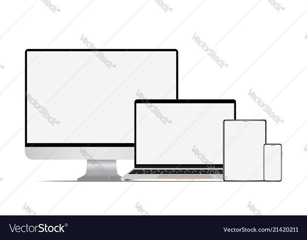 Set of realistic computer laptop tablet and