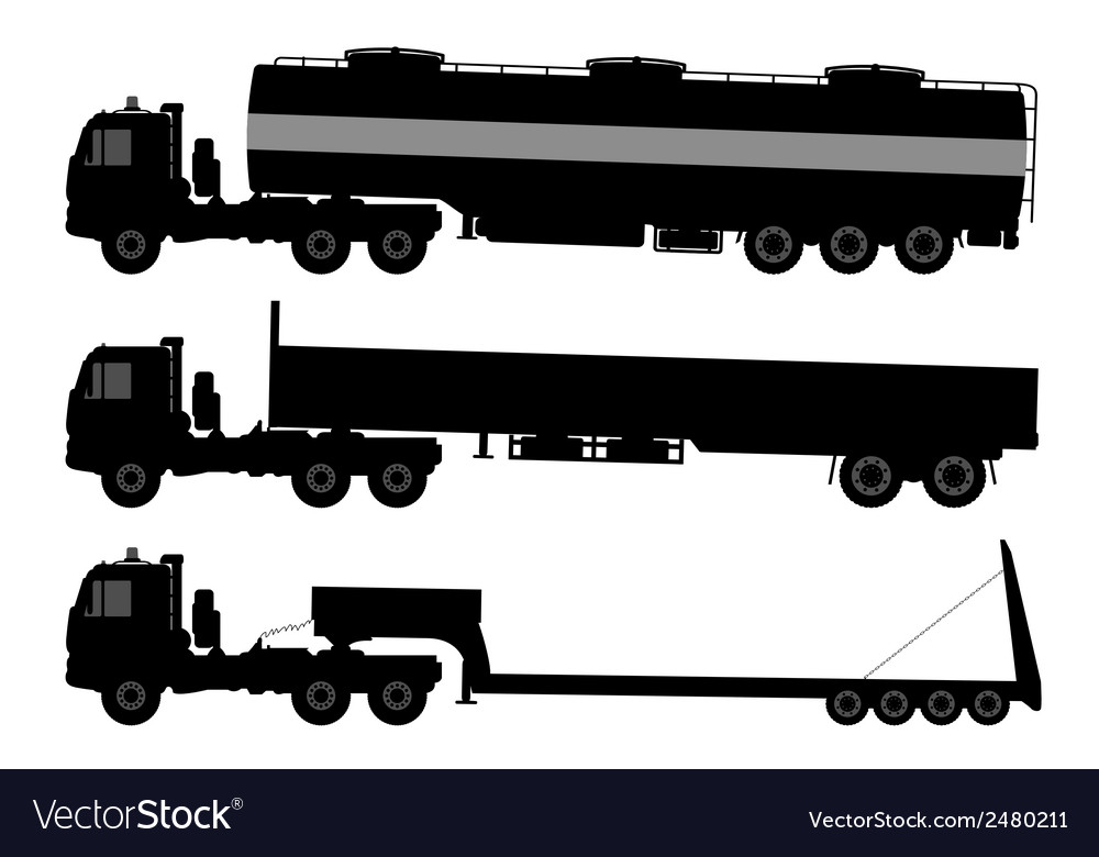 Set of silhouettes the cargo trucks