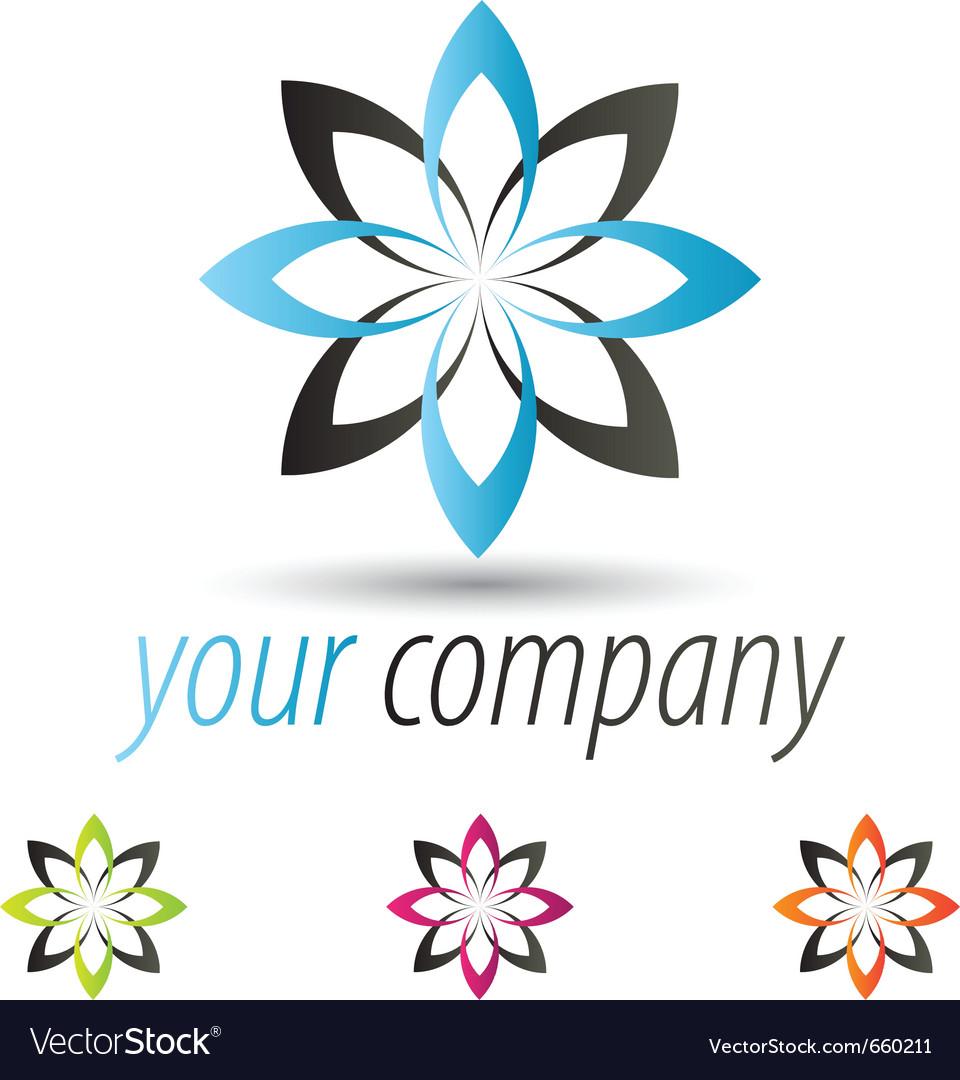 Star flower logo set vector image