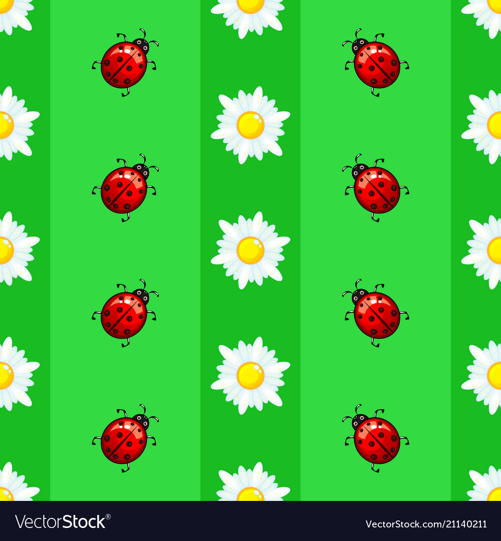 Summer seamless pattern with daisies and ladybugs