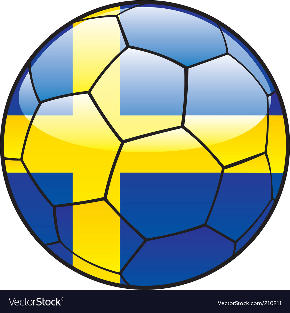 Sweden flag on soccer ball vector image