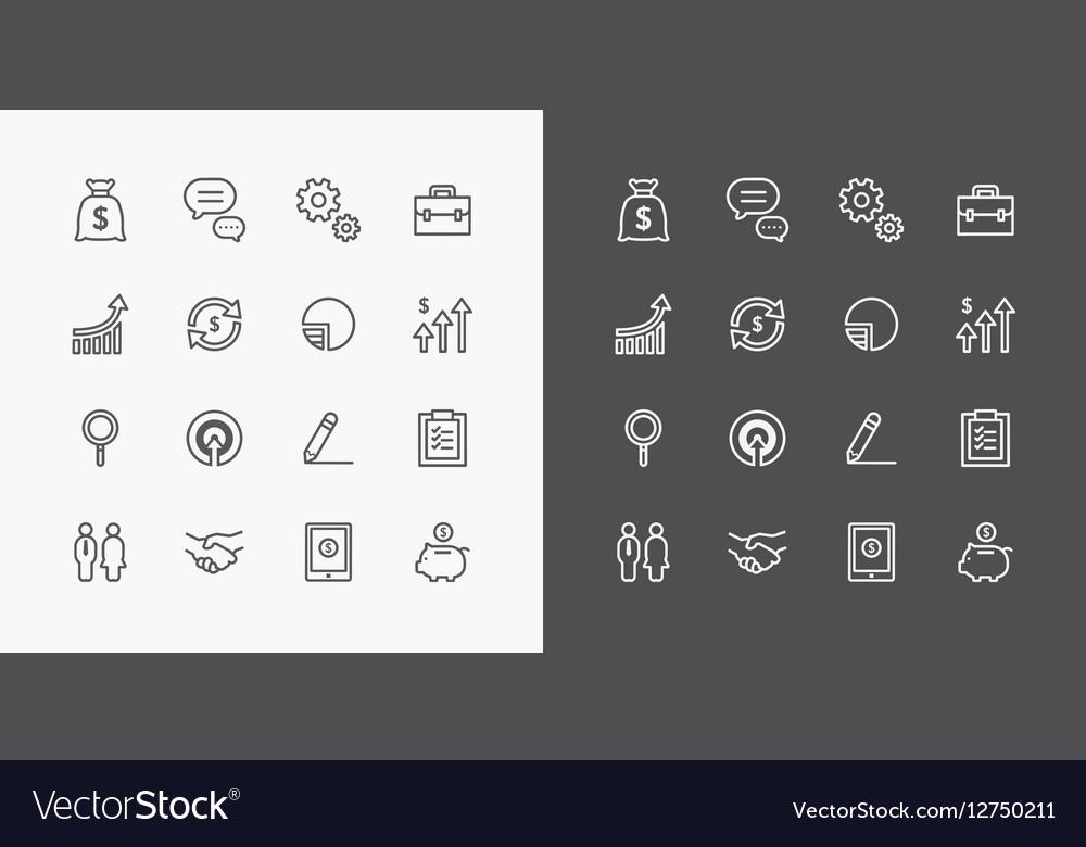 Usiness icons set flat line design for Web