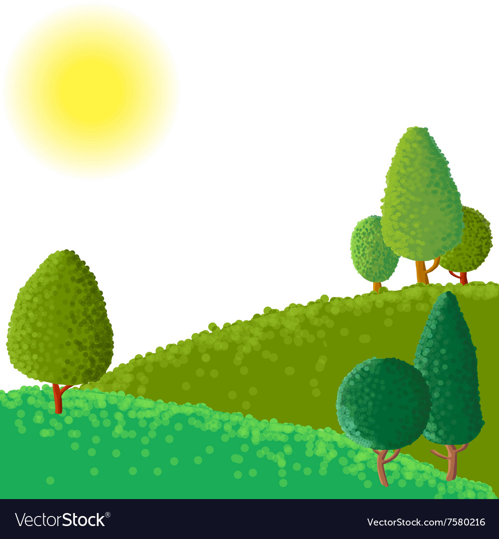 Abstract landscape with sun ant trees