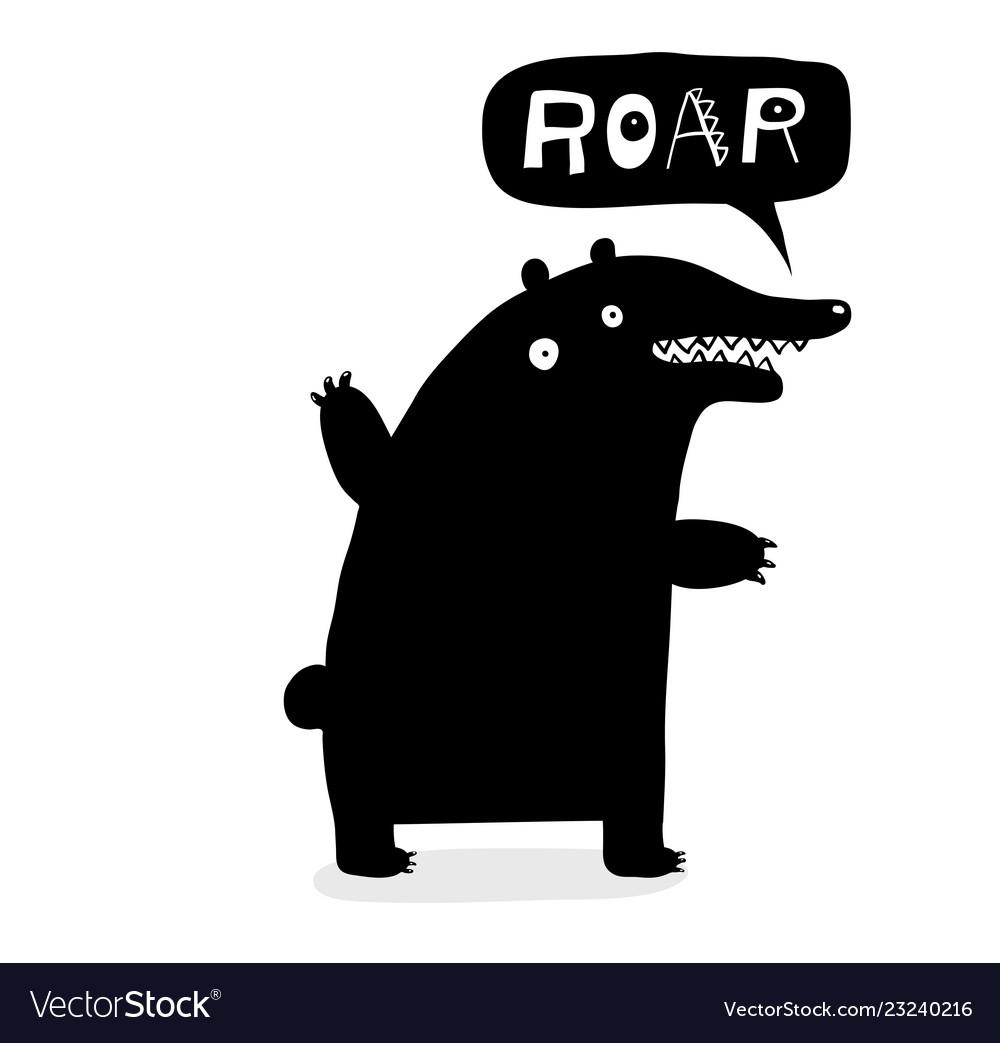 Bear roar lettering black doodle