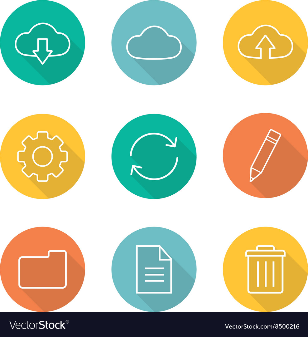 Cloud computing flat linear long shadow icons set