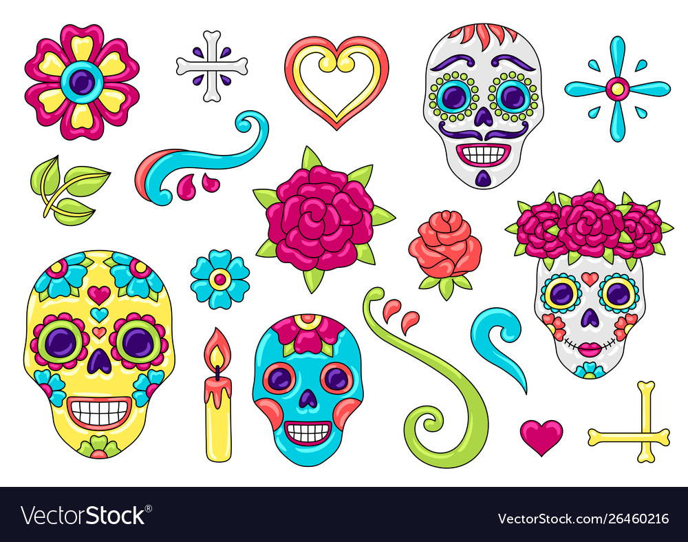 Day dead items set sugar skulls with