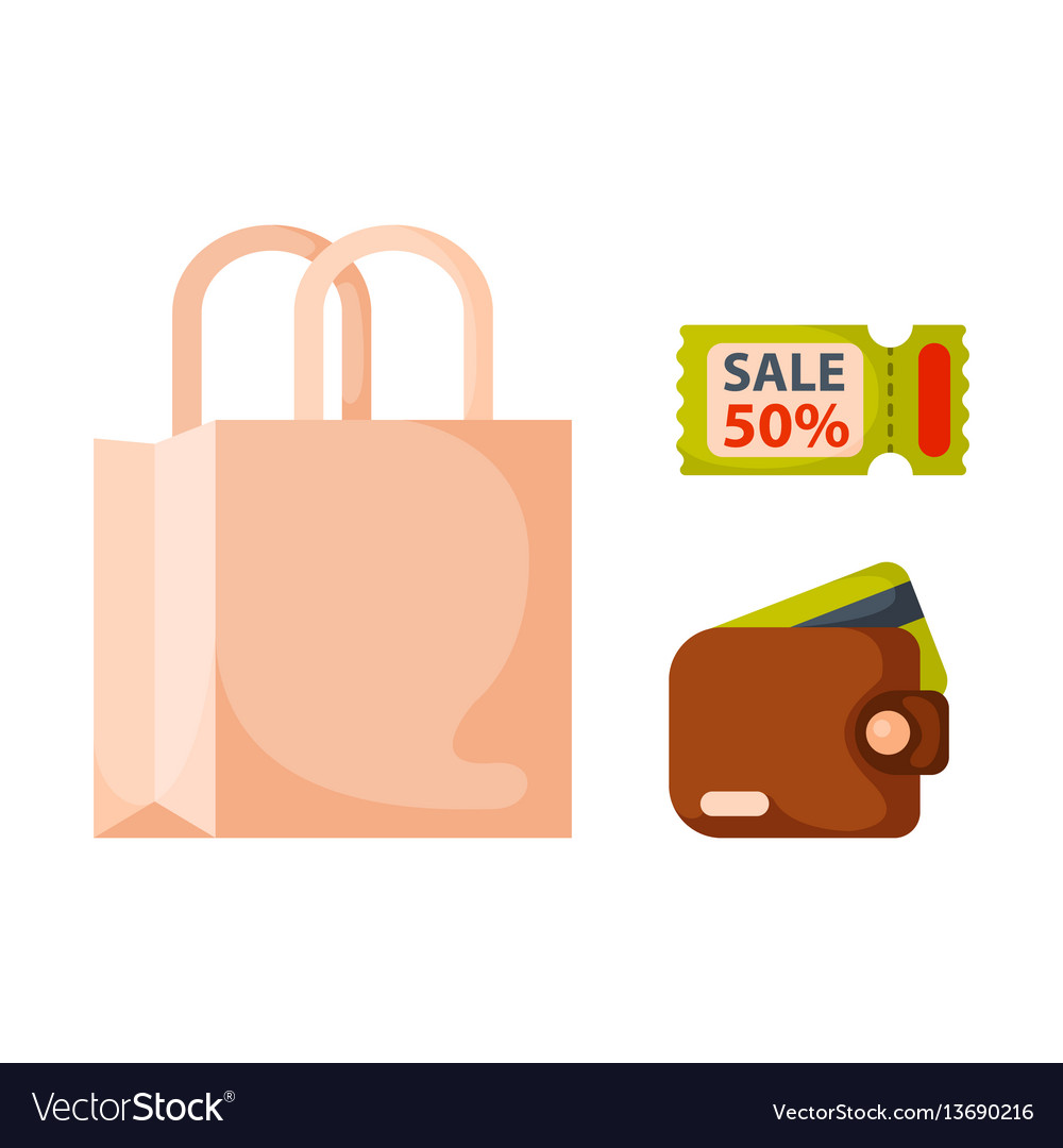Flat money wallet icon paper bag sale making