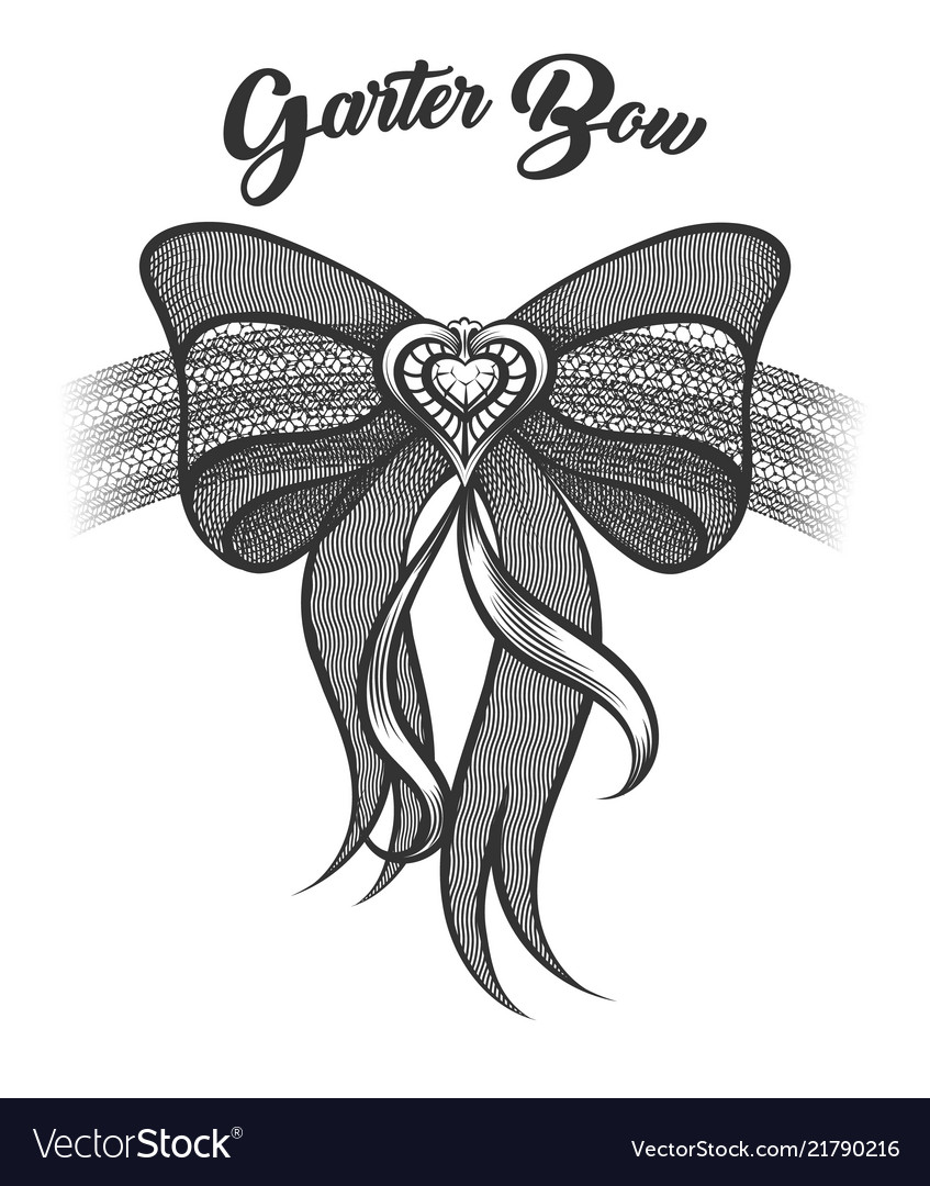 Garter Bow In Tattoo Style Royalty Free Vector Image