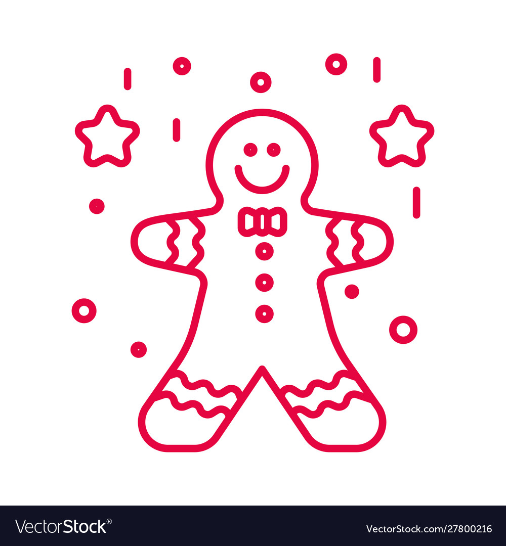 Gingerbread man with decorative icing and stars