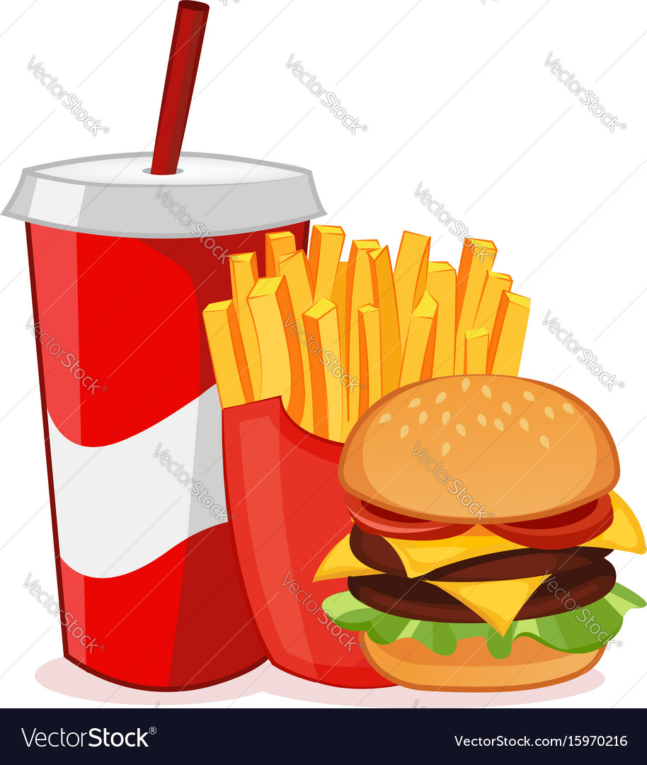 Hamburger french fries and soda