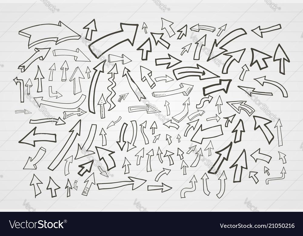 Hand drawn arrows elements set