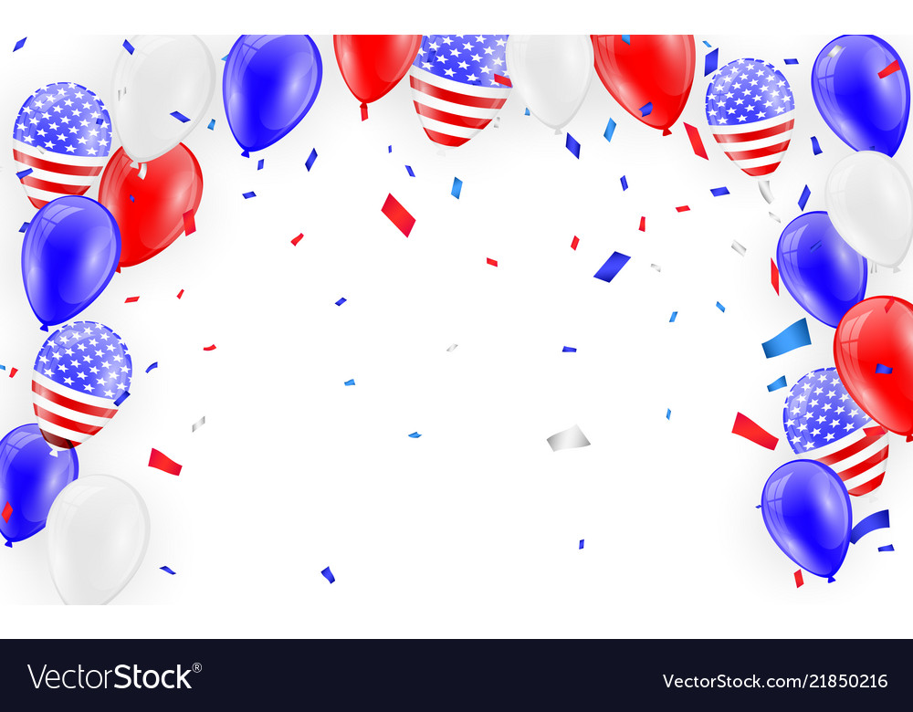 Holidays card design american flag balloons with