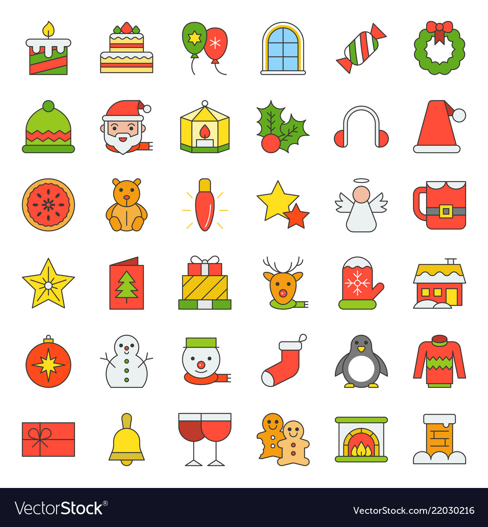 Merry christmas icon set 4 filled outline