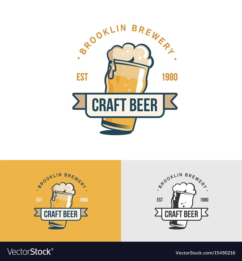 Original vintage craft beer logo template for