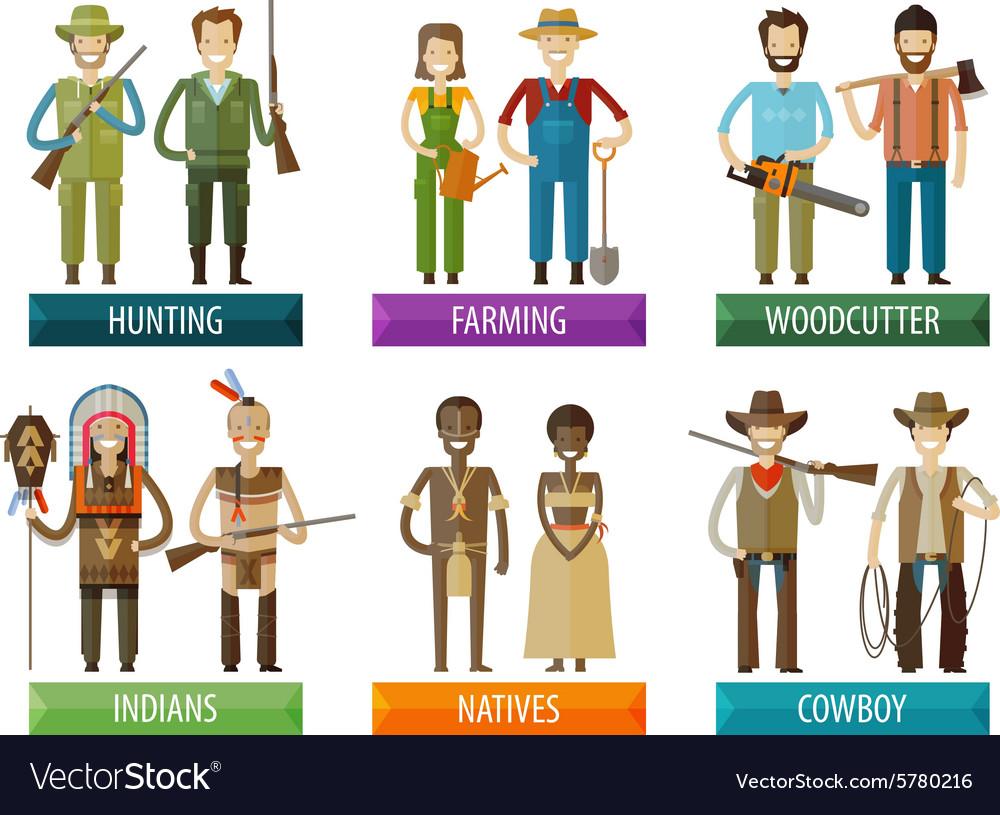 People logo design template farmer hunter