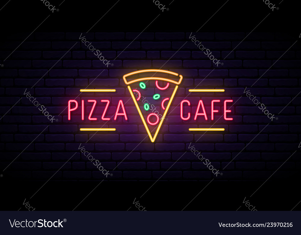 Pizza cafe neon sign bright advertising signboard