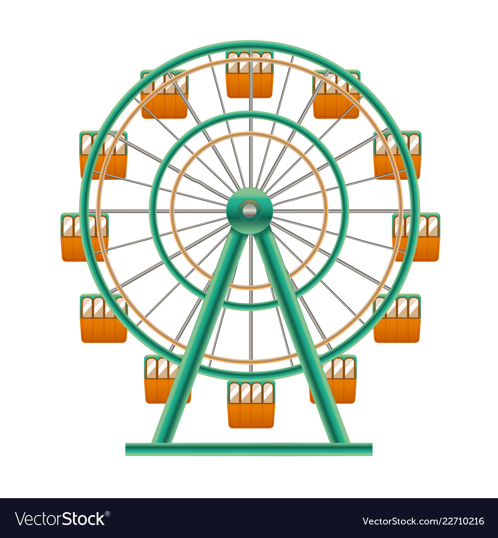 Realistic Detailed 3d Ferris Wheel Attraction Vector Image
