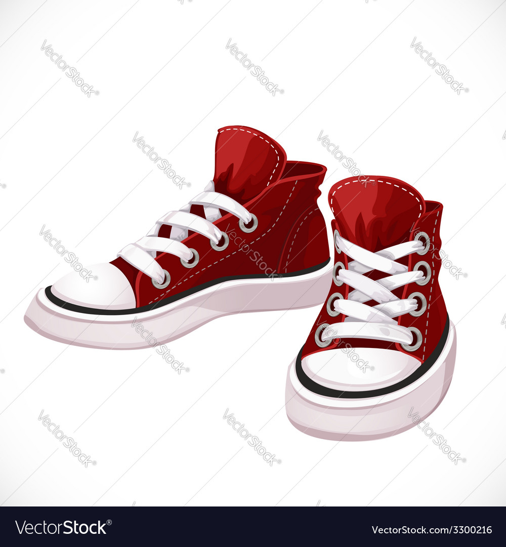 Red sports sneakers with white laces