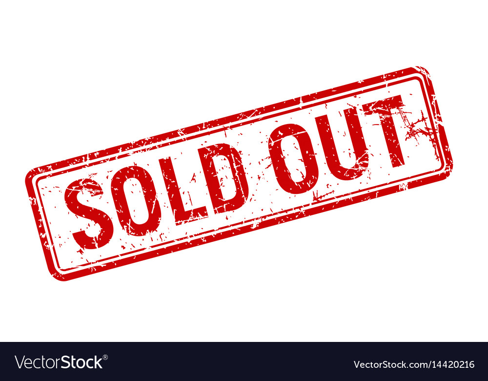 Sold out red grunge stamp rotated on white vector image