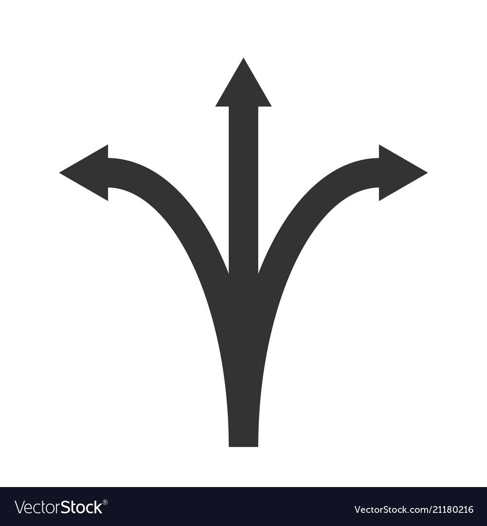 Three arrows pointing
