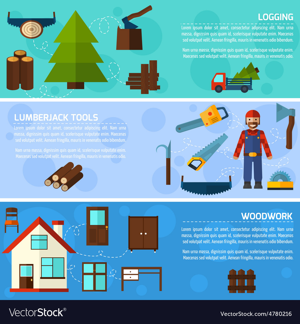 Woodworking Industry Banners vector image